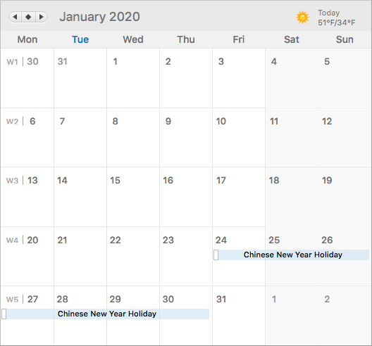 Calendar with Chinese New Year identified as January 24-30, 2020