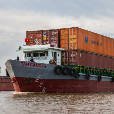 Vietnamese container ship on river