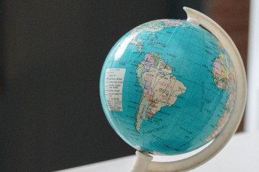 Globe with focus on South America