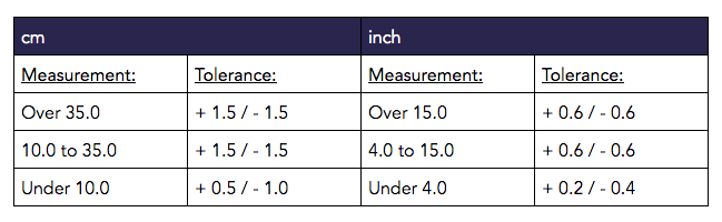 Measurement Table for Garment Inspection