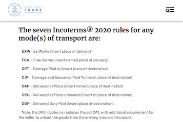 Screenshot from International Trade Administration website
