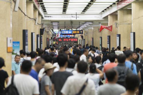 Busy train station in Beijing