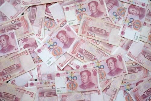 Piles of Chinese Yuan Renminbi bills