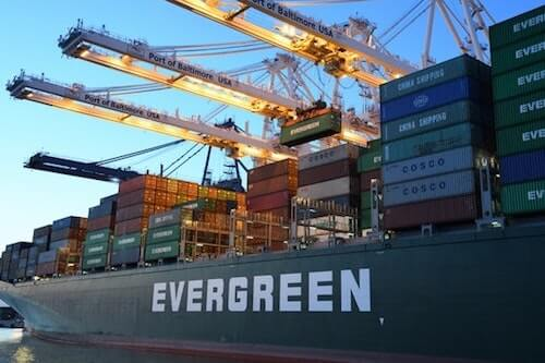 Evergreen container ship at port