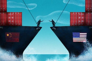 Chinese and American cargo ships side-by-side