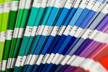 Pantone swatch - a quality control tool used for verifying color accuracy