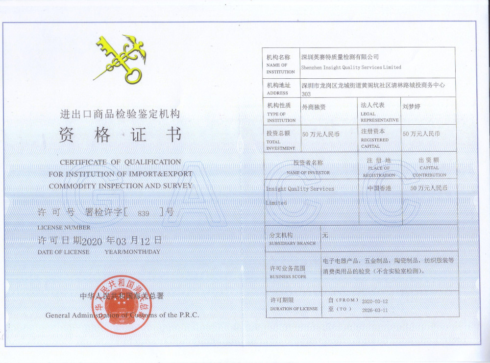 P.R.C. Accreditation Certificate