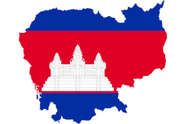 Map of Cambodia and a Cambodian flag