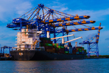 Container ship at Cochin Port