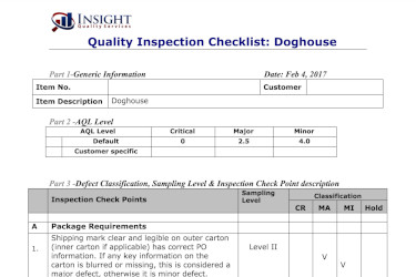 Screenshot of a quality inspection checklist for a doghouse