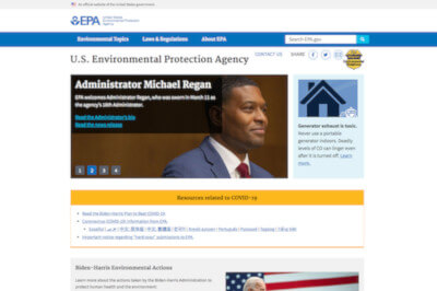 Screenshot of EPA website