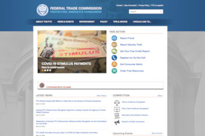 Screenshot of FTC website