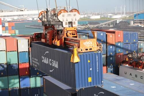 Container being loaded onto a ship for shipping From China to the US
