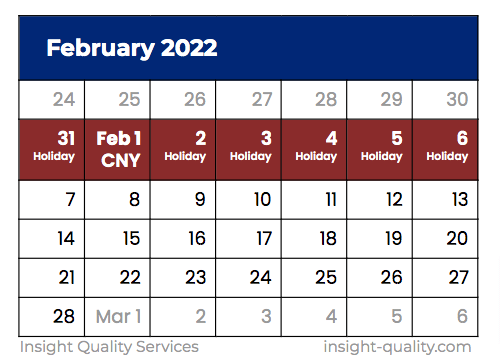 Chinese New Year Shutdown 2022 Calendar